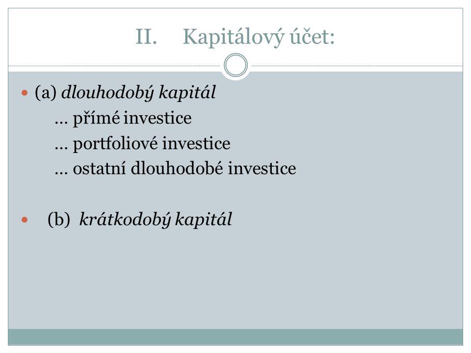 II. Kapitálový účet: (a) dlouhodobý kapitál … přímé investice