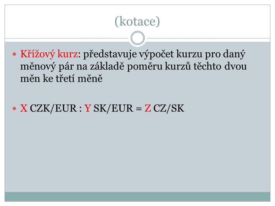 (kotace) Křížový kurz: představuje výpočet kurzu pro daný měnový pár na základě poměru kurzů těchto dvou měn ke třetí měně.