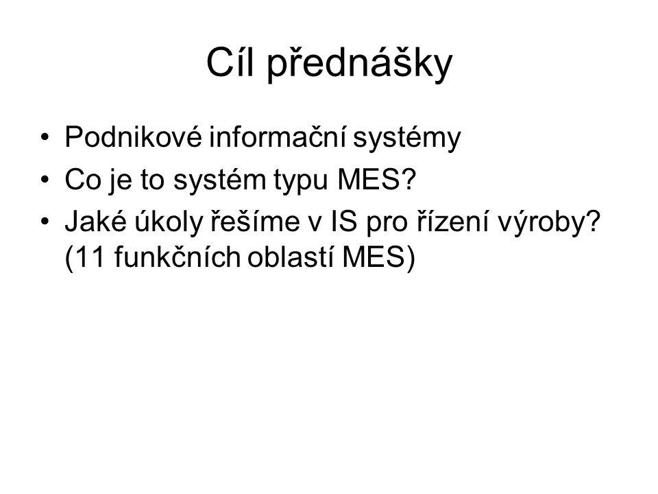 Cíl přednášky Podnikové informační systémy Co je to systém typu MES