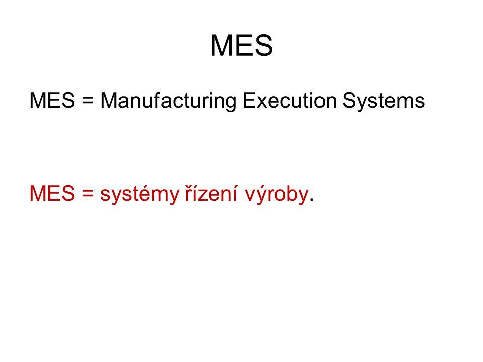 MES MES = Manufacturing Execution Systems MES = systémy řízení výroby.