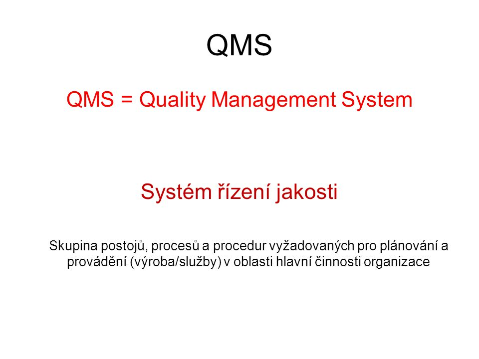 QMS = Quality Management System