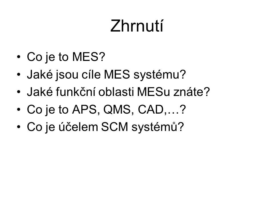 Zhrnutí Co je to MES Jaké jsou cíle MES systému