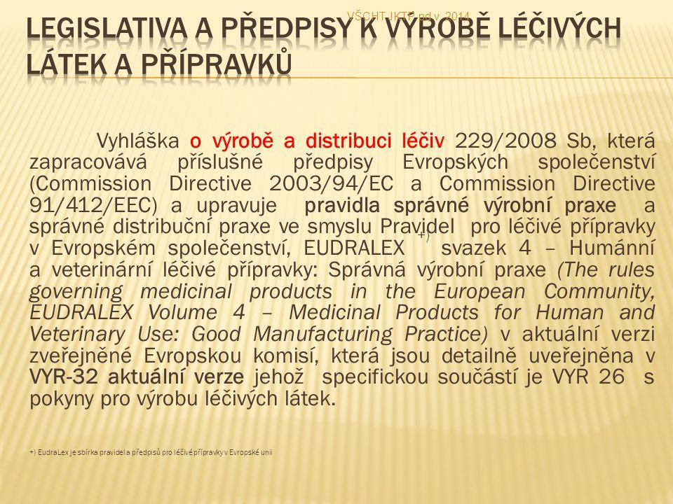 Legislativa a předpisy k výrobě léčivých látek a přípravků