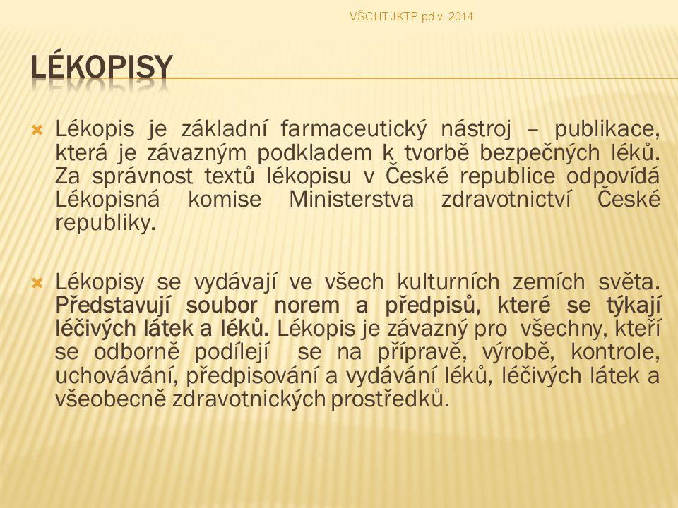 VŠCHT JKTP pd v. 2014 Lékopisy.