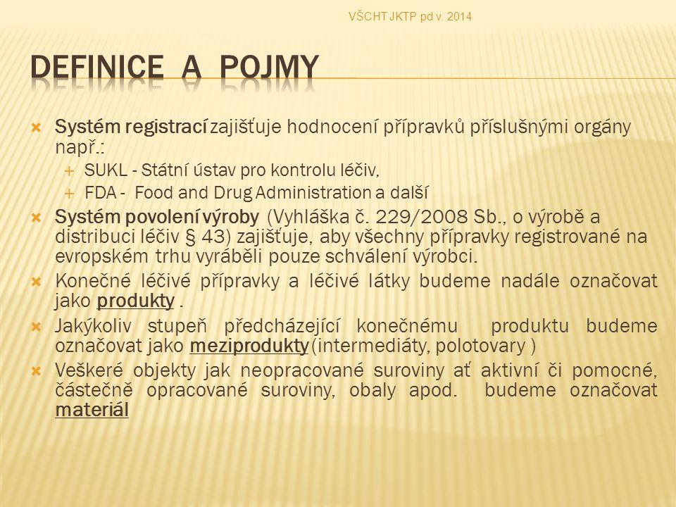 VŠCHT JKTP pd v. 2014 Definice a pojmy. Systém registrací zajišťuje hodnocení přípravků příslušnými orgány např.: