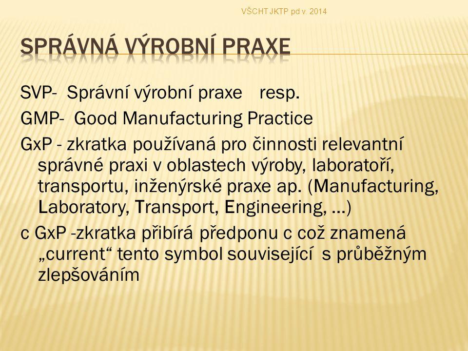 VŠCHT JKTP pd v. 2014 SPRÁVNÁ VÝROBNÍ PRAXE.