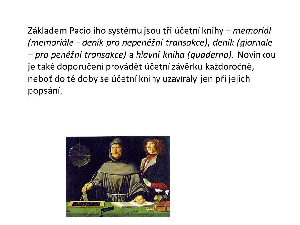 Základem Pacioliho systému jsou tři účetní knihy – memoriál (memoriále - deník pro nepeněžní transakce), deník (giornale – pro peněžní transakce) a hlavní kniha (quaderno). Novinkou je také doporučení provádět účetní závěrku každoročně, neboť do té doby se účetní knihy uzavíraly jen při jejich popsání.