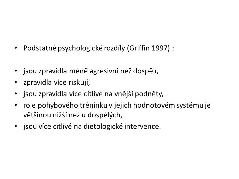 Podstatné psychologické rozdíly (Griffin 1997) :