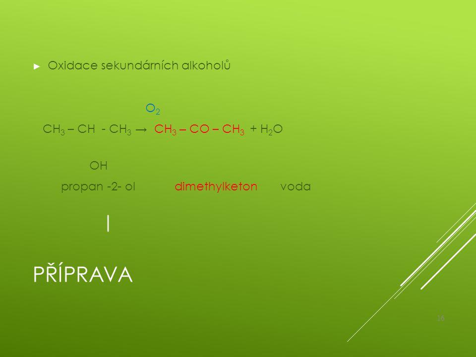 Příprava Oxidace sekundárních alkoholů O2