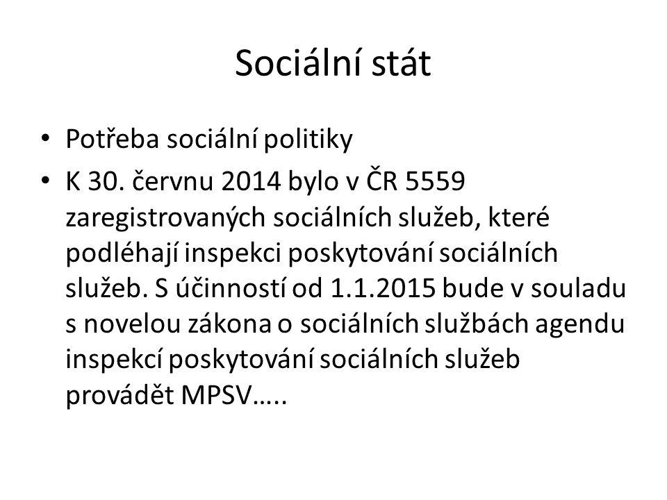Sociální stát Potřeba sociální politiky