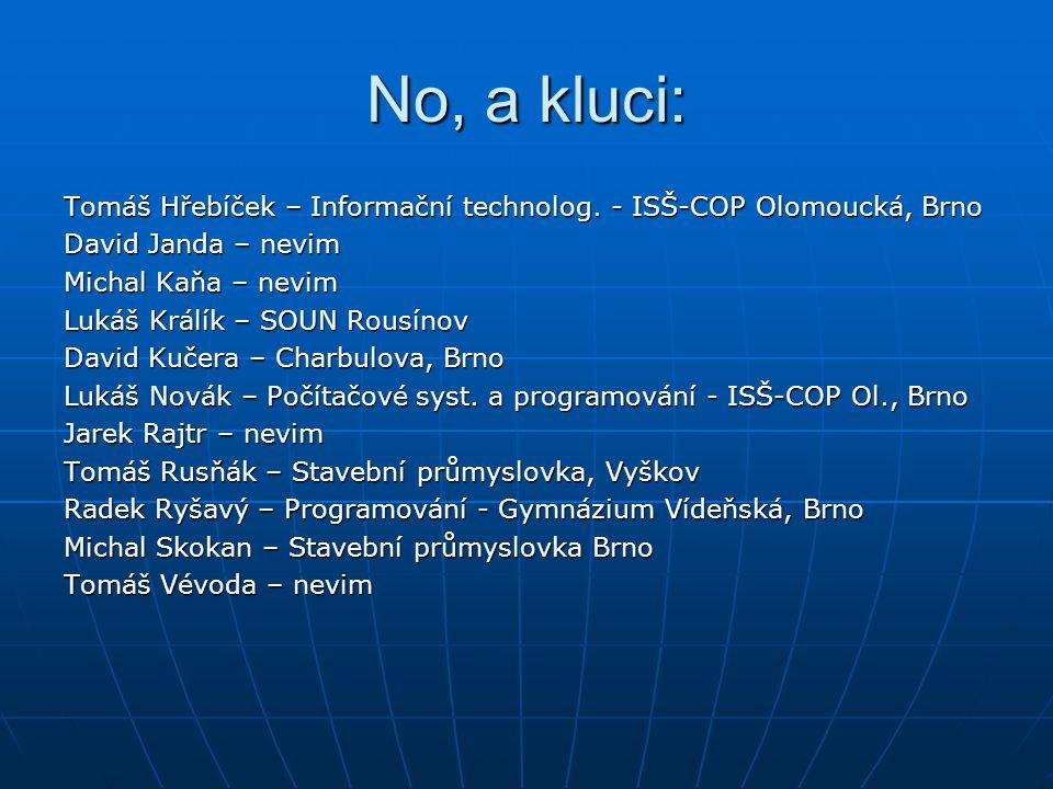 No, a kluci: Tomáš Hřebíček – Informační technolog. - ISŠ-COP Olomoucká, Brno. David Janda – nevim.
