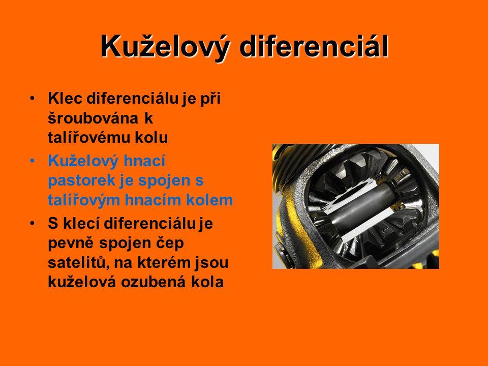 Kuželový diferenciál Klec diferenciálu je při šroubována k talířovému kolu. Kuželový hnací pastorek je spojen s talířovým hnacím kolem.
