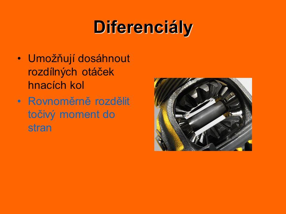 Diferenciály Umožňují dosáhnout rozdílných otáček hnacích kol