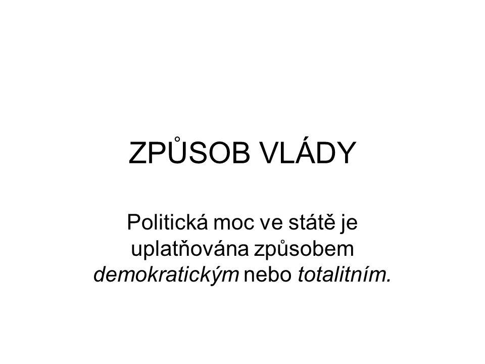 ZPŮSOB VLÁDY Politická moc ve státě je uplatňována způsobem demokratickým nebo totalitním.