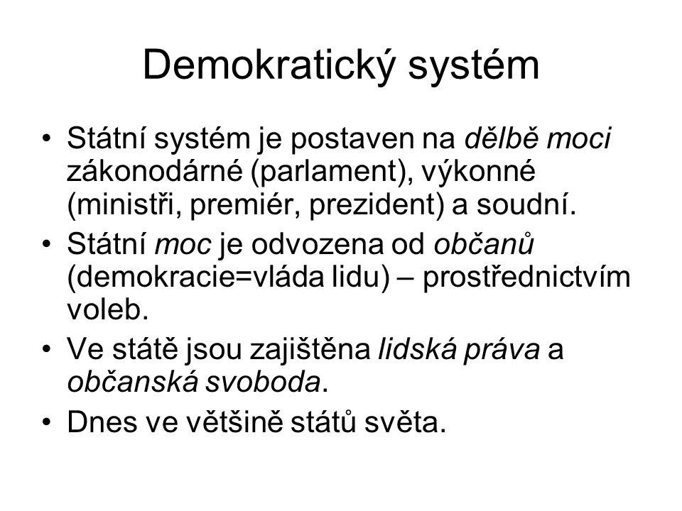 Demokratický systém Státní systém je postaven na dělbě moci zákonodárné (parlament), výkonné (ministři, premiér, prezident) a soudní.