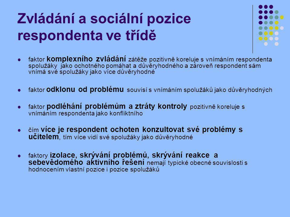 Zvládání a sociální pozice respondenta ve třídě