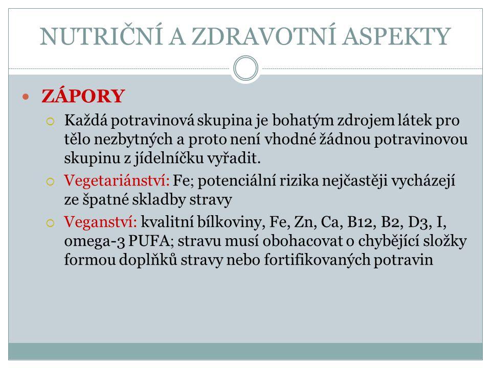 NUTRIČNÍ A ZDRAVOTNÍ ASPEKTY