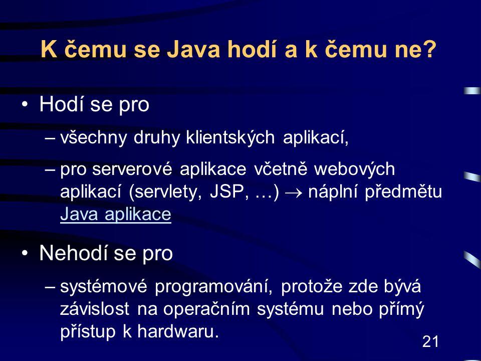 K čemu se Java hodí a k čemu ne