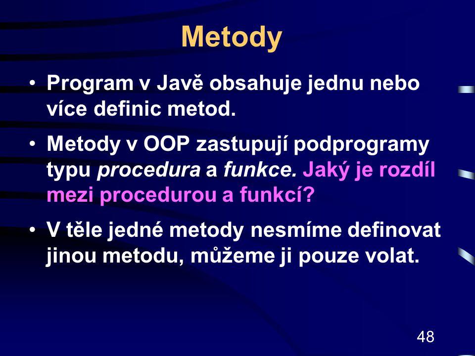 Metody Program v Javě obsahuje jednu nebo více definic metod.
