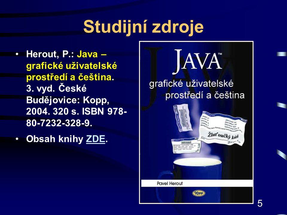 Studijní zdroje Herout, P.: Java – grafické uživatelské prostředí a čeština. 3. vyd. České Budějovice: Kopp, 2004. 320 s. ISBN 978-80-7232-328-9.