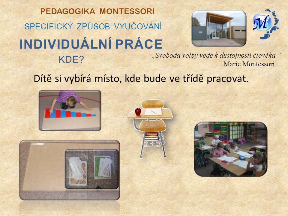 Individuální práce Dítě si vybírá místo, kde bude ve třídě pracovat.