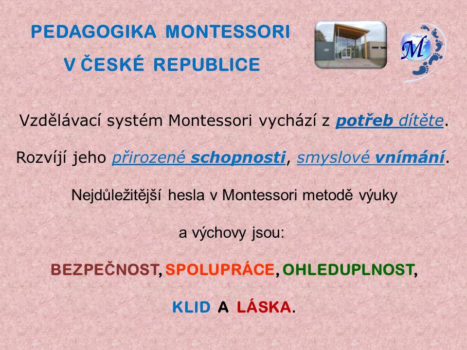 PEDAGOGIKA MONTESSORI BEZPEČNOST, SPOLUPRÁCE, OHLEDUPLNOST,