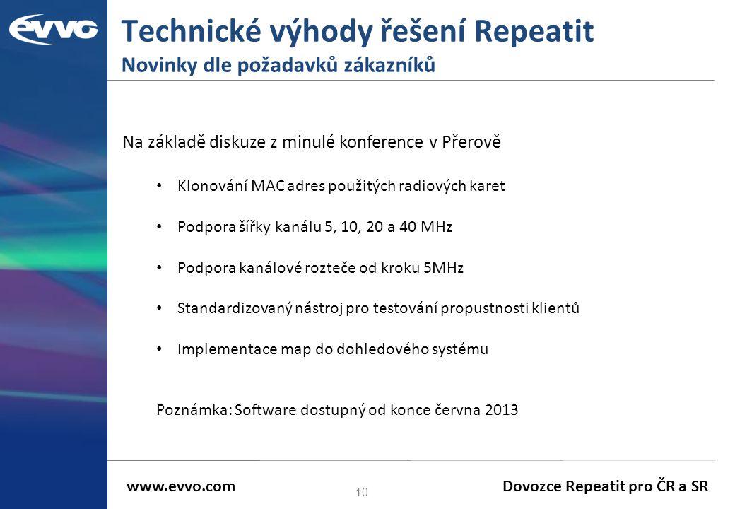 Technické výhody řešení Repeatit Novinky dle požadavků zákazníků