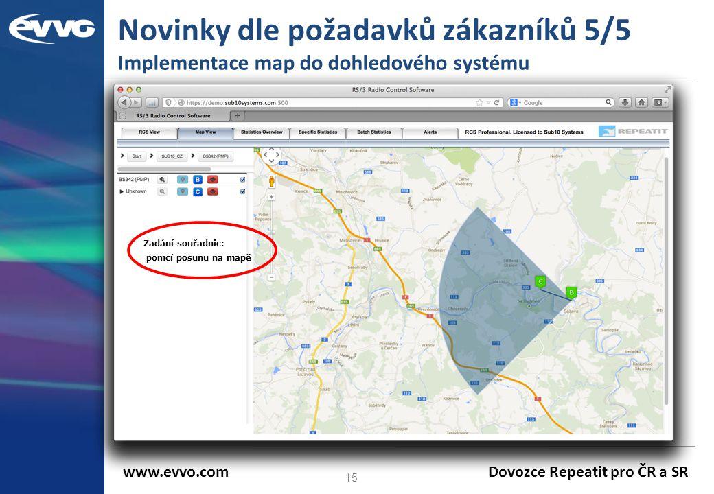 Novinky dle požadavků zákazníků 5/5 Implementace map do dohledového systému