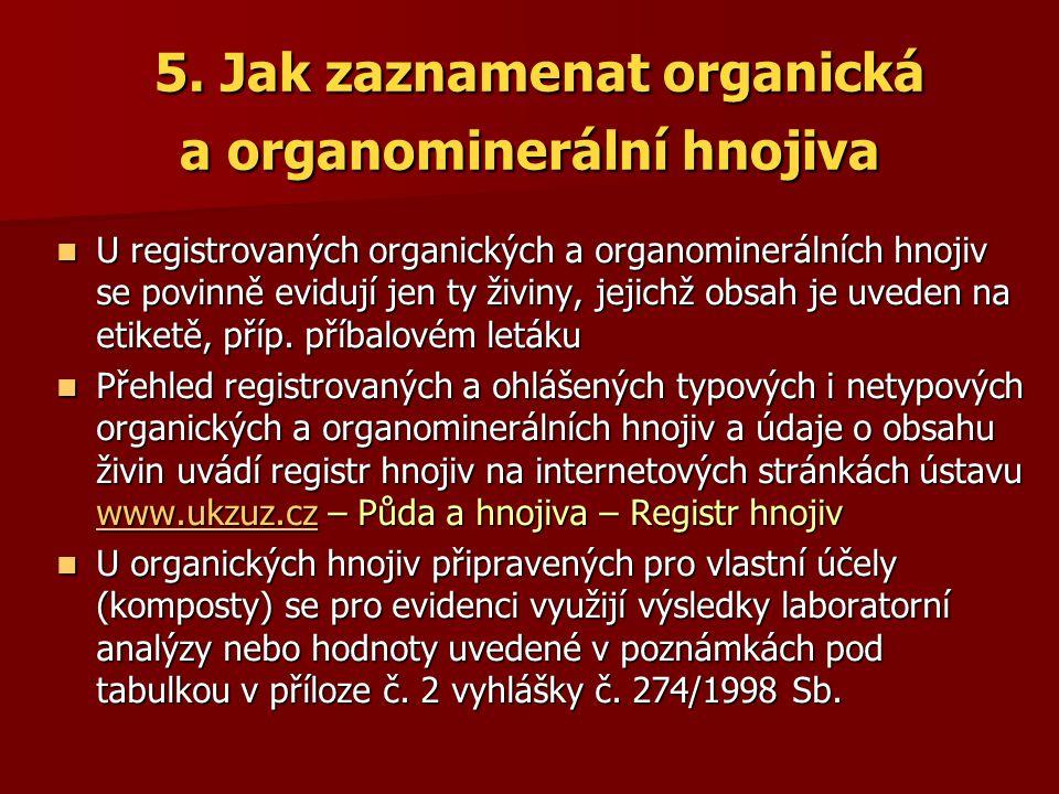 5. Jak zaznamenat organická a organominerální hnojiva