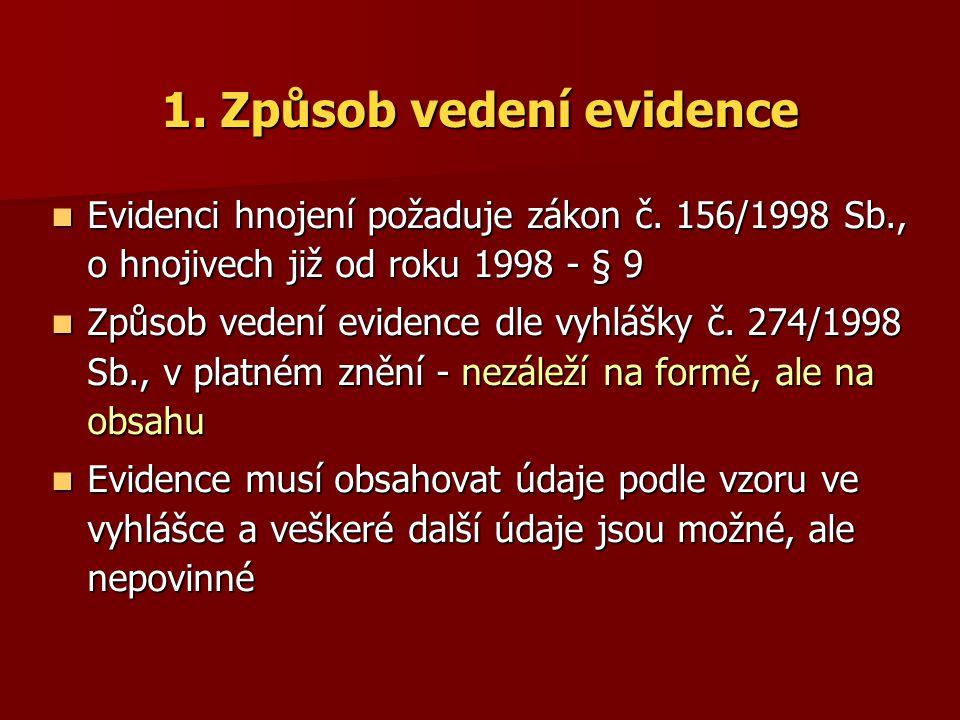 1. Způsob vedení evidence