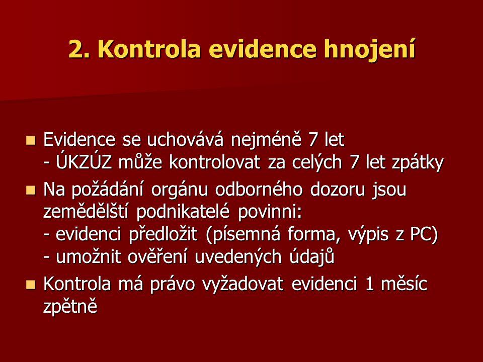 2. Kontrola evidence hnojení