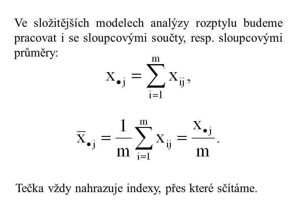 Ve složitějších modelech analýzy rozptylu budeme pracovat i se sloupcovými součty, resp. sloupcovými průměry: