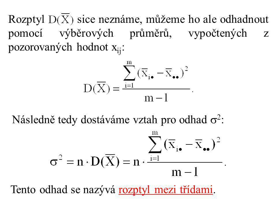 Rozptyl sice neznáme, můžeme ho ale odhadnout pomocí výběrových průměrů, vypočtených z pozorovaných hodnot xij: