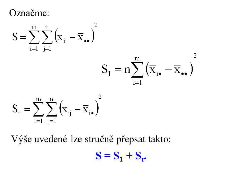 Označme: Výše uvedené lze stručně přepsat takto: S = S1 + Sr.