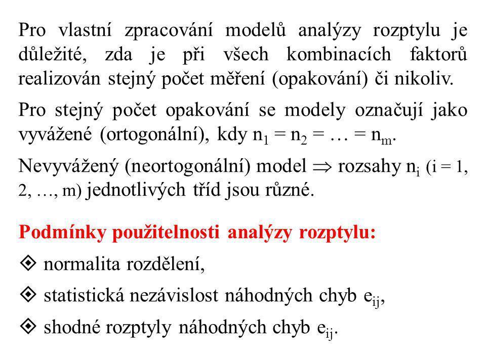 Pro vlastní zpracování modelů analýzy rozptylu je důležité, zda je při všech kombinacích faktorů realizován stejný počet měření (opakování) či nikoliv.