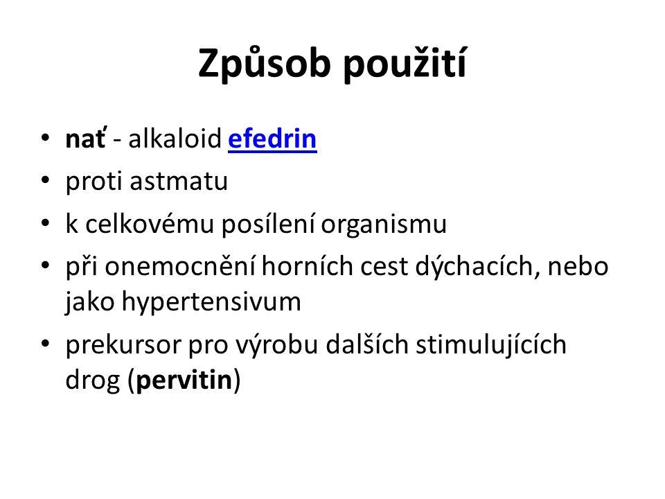 Způsob použití nať - alkaloid efedrin proti astmatu