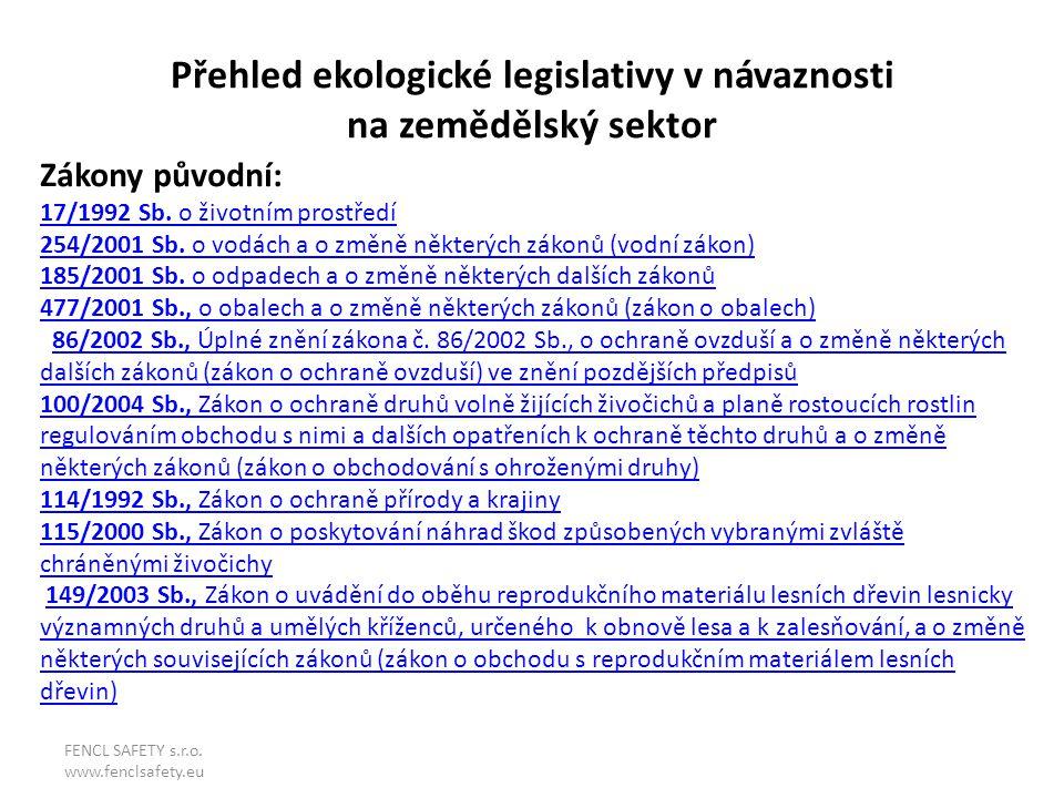 Přehled ekologické legislativy v návaznosti na zemědělský sektor