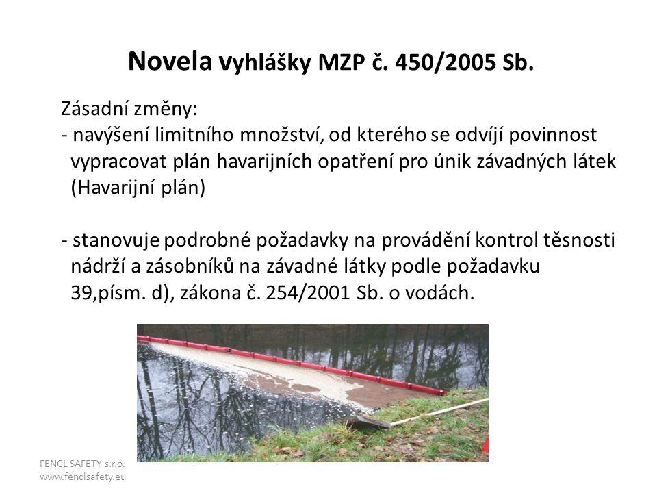Novela vyhlášky MZP č. 450/2005 Sb.