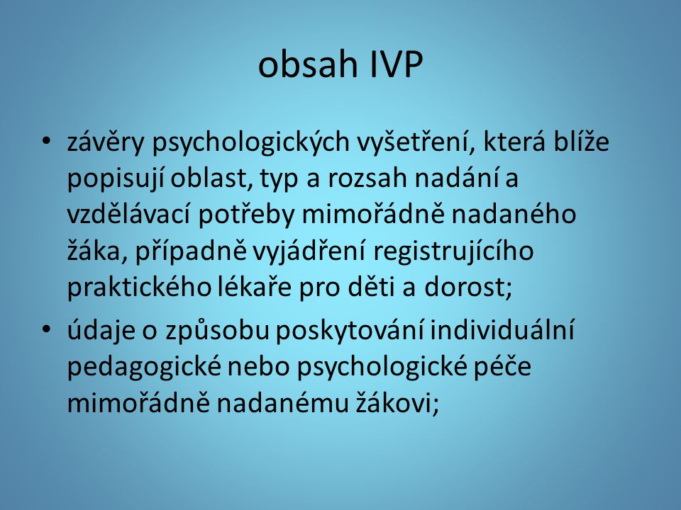 obsah IVP