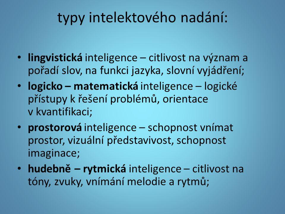 typy intelektového nadání: