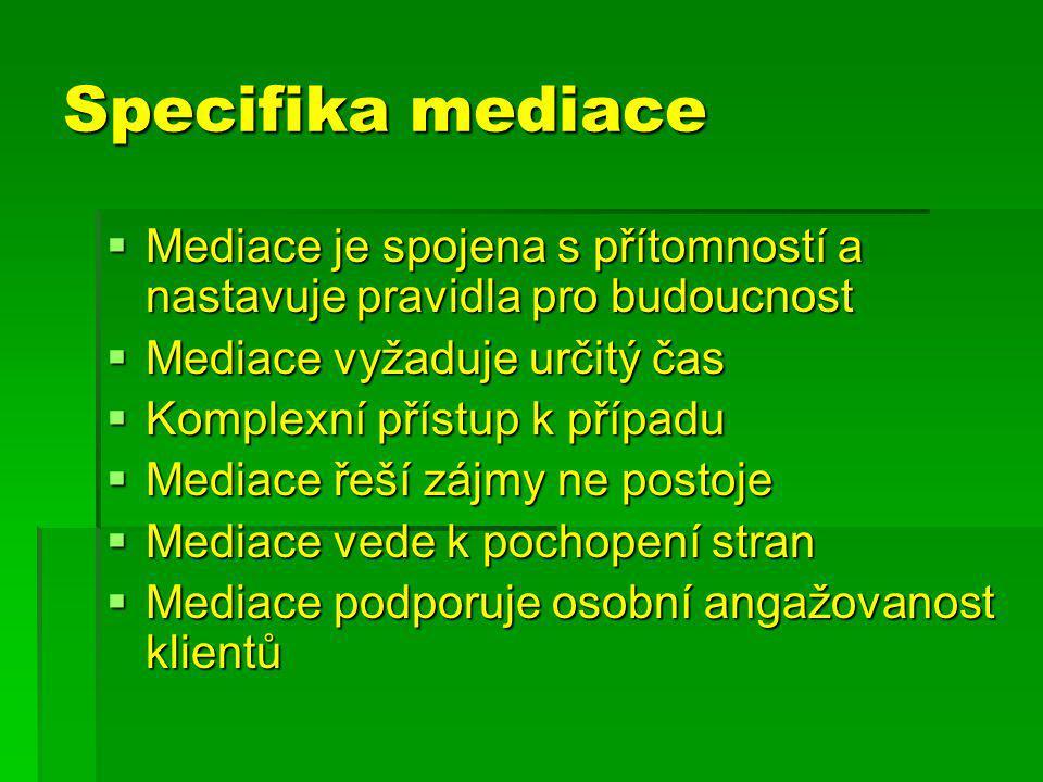 Specifika mediace Mediace je spojena s přítomností a nastavuje pravidla pro budoucnost. Mediace vyžaduje určitý čas.