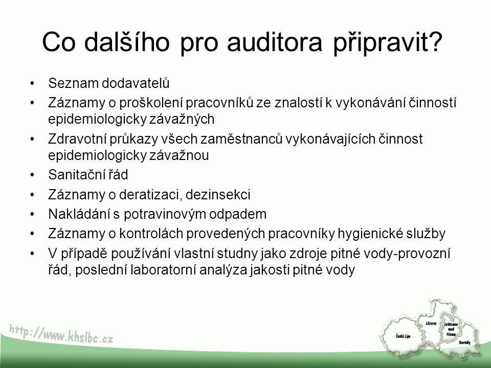 Co dalšího pro auditora připravit