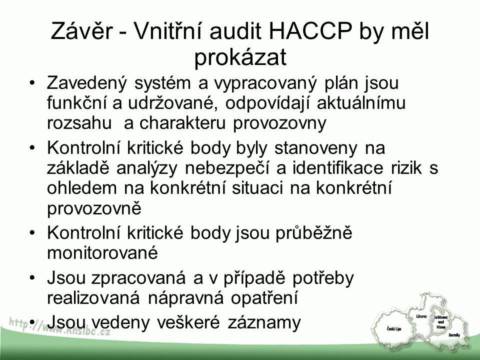 Závěr - Vnitřní audit HACCP by měl prokázat