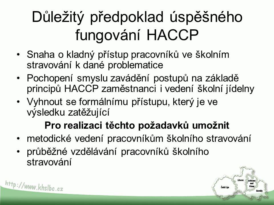 Důležitý předpoklad úspěšného fungování HACCP