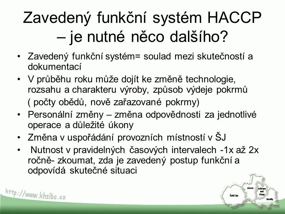 Zavedený funkční systém HACCP – je nutné něco dalšího