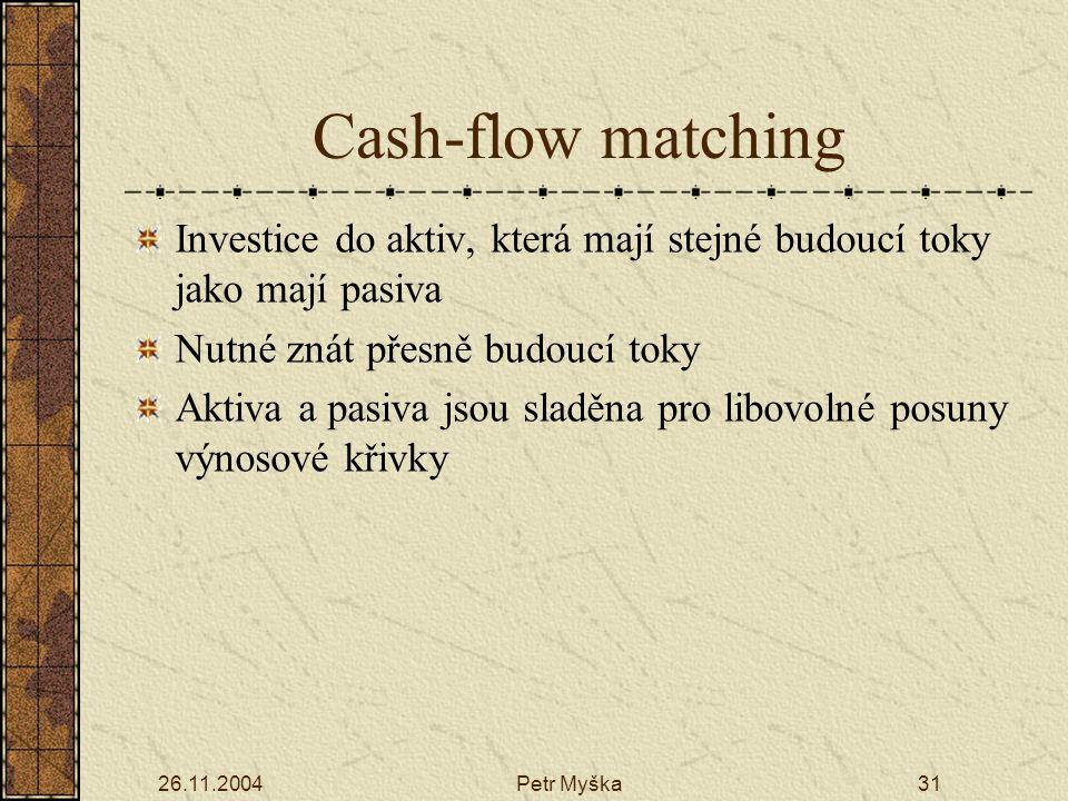 Cash-flow matching Investice do aktiv, která mají stejné budoucí toky jako mají pasiva. Nutné znát přesně budoucí toky.