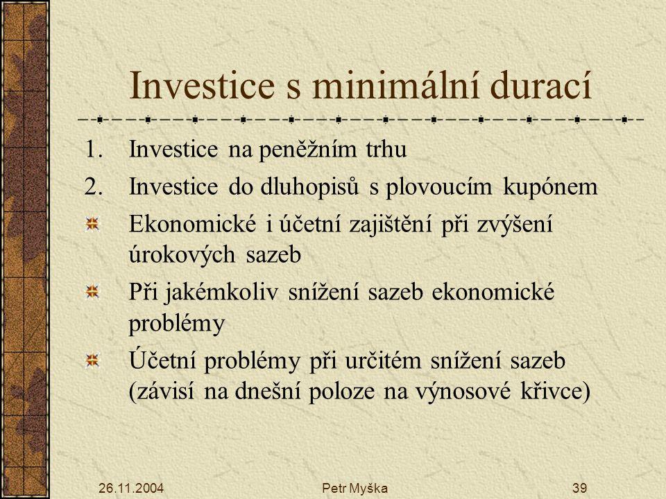Investice s minimální durací
