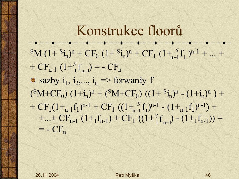 Konstrukce floorů SM (1+ Sin)n + CF0 (1+ Sin)n + CF1 (1+ )n-1 + ... +