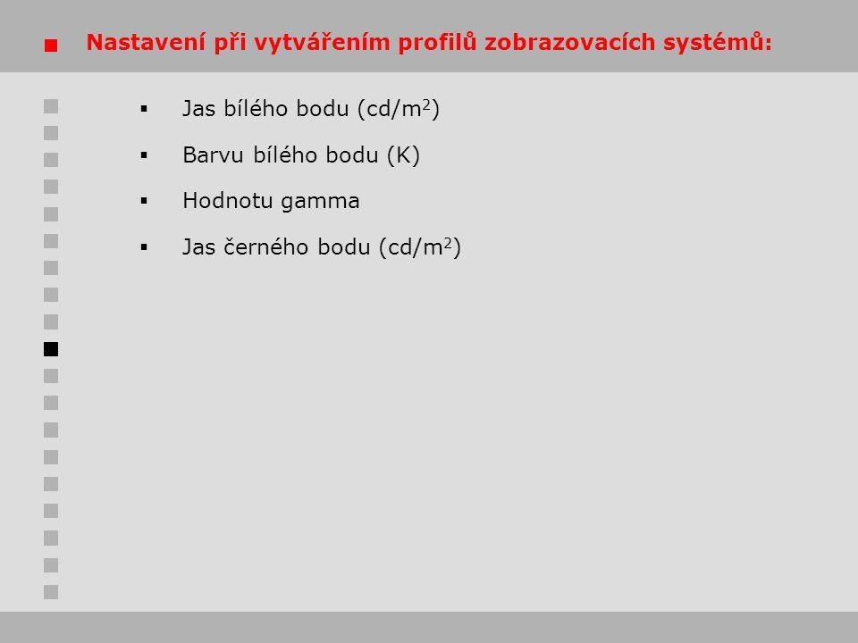 Nastavení při vytvářením profilů zobrazovacích systémů: