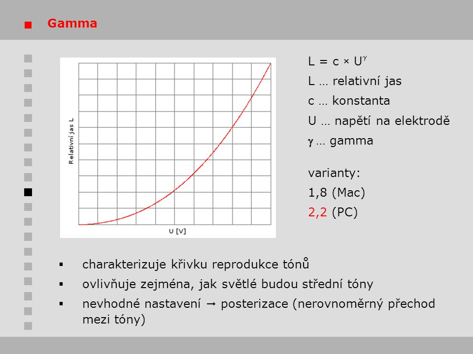 Gamma L = c × Ug. L … relativní jas. c … konstanta. U … napětí na elektrodě. g … gamma. varianty:
